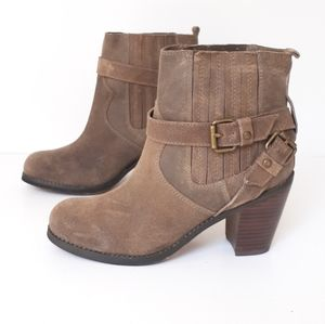 VOLATILE DISTRESSED TAUPE OILED COW SUEDE BOOTS